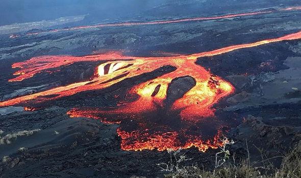 Volcanic haze from Sierra Negra Volcano