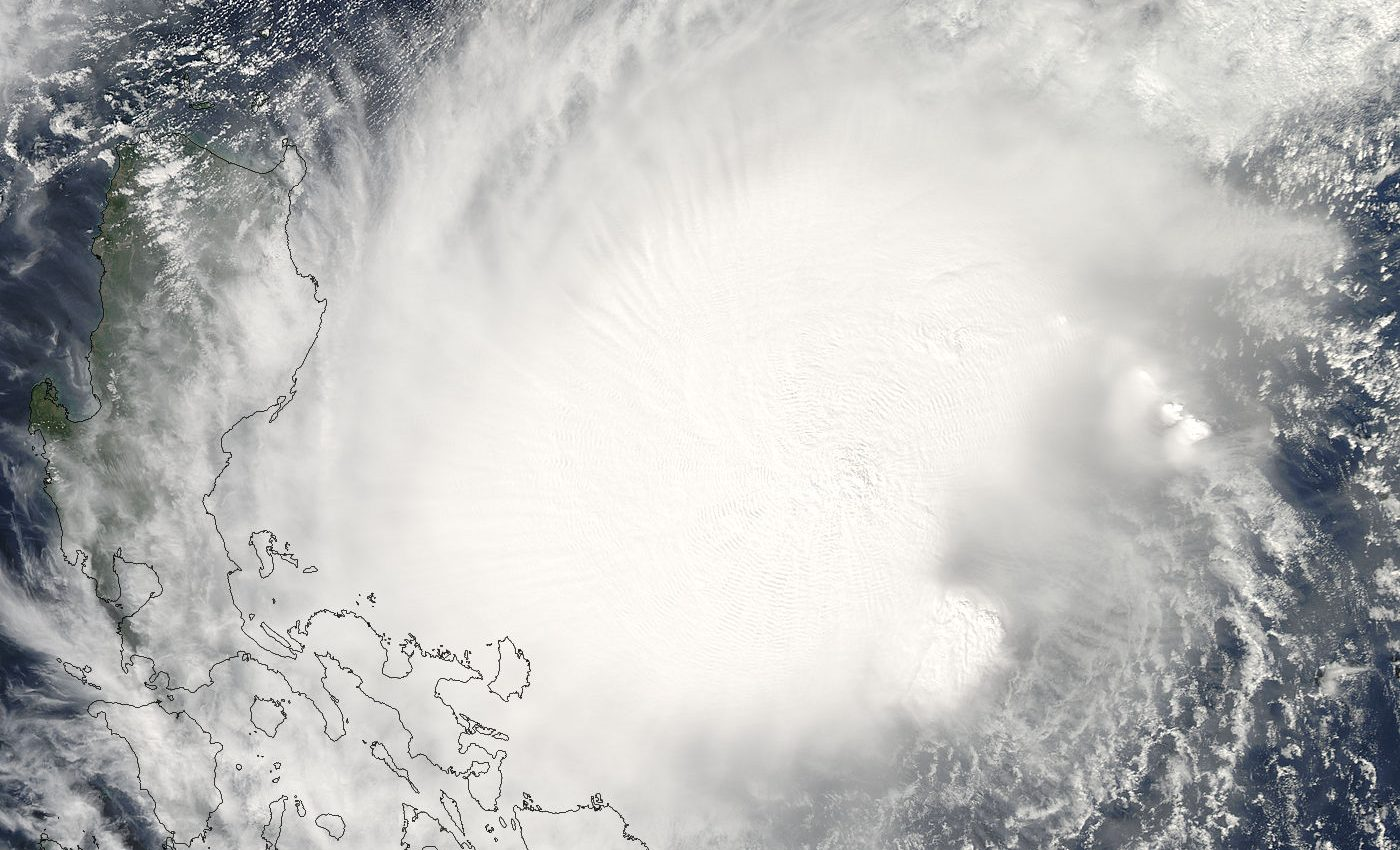 Typhoon Bolaven approaching the Philippines