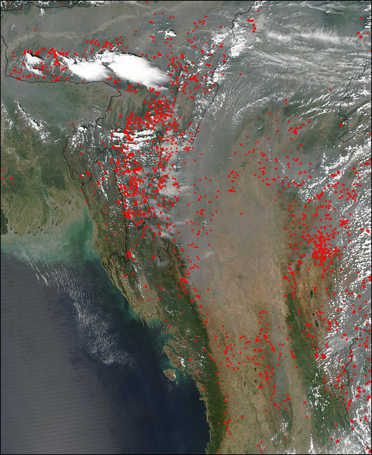 Fires in Myanmar and India