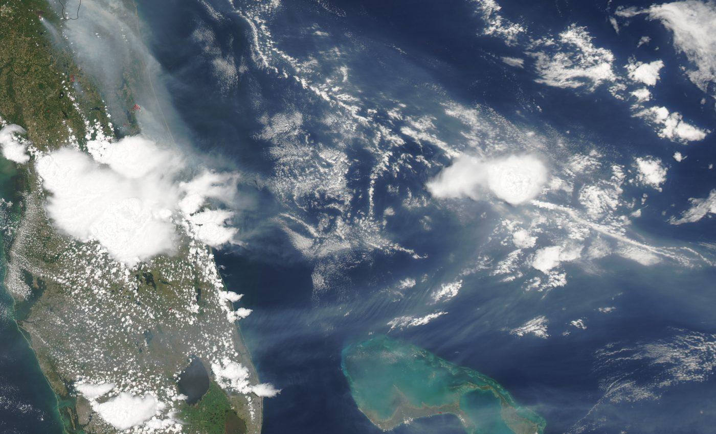 Smoke over the Northern Atlantic Ocean