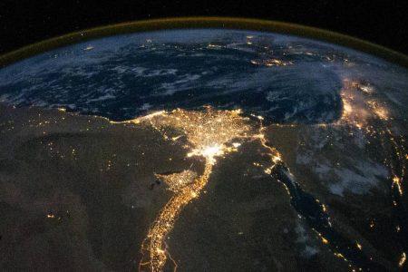 Nile River Delta at Night