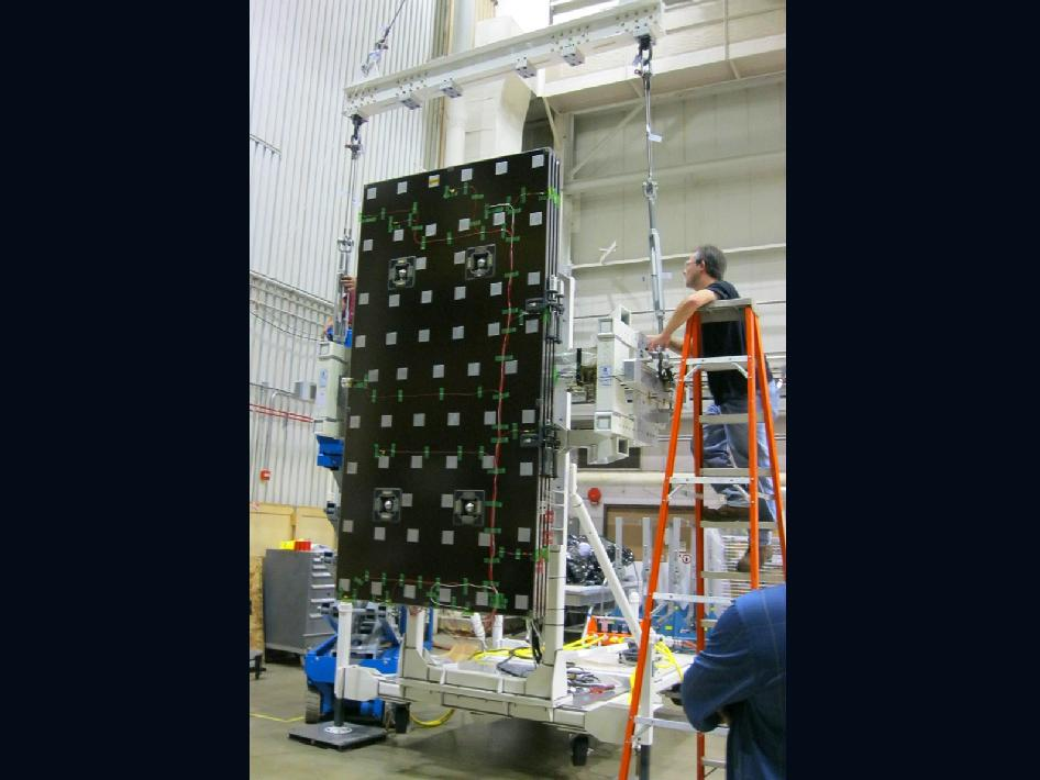 Engineers Prepare the GPM Solar Array for Testing