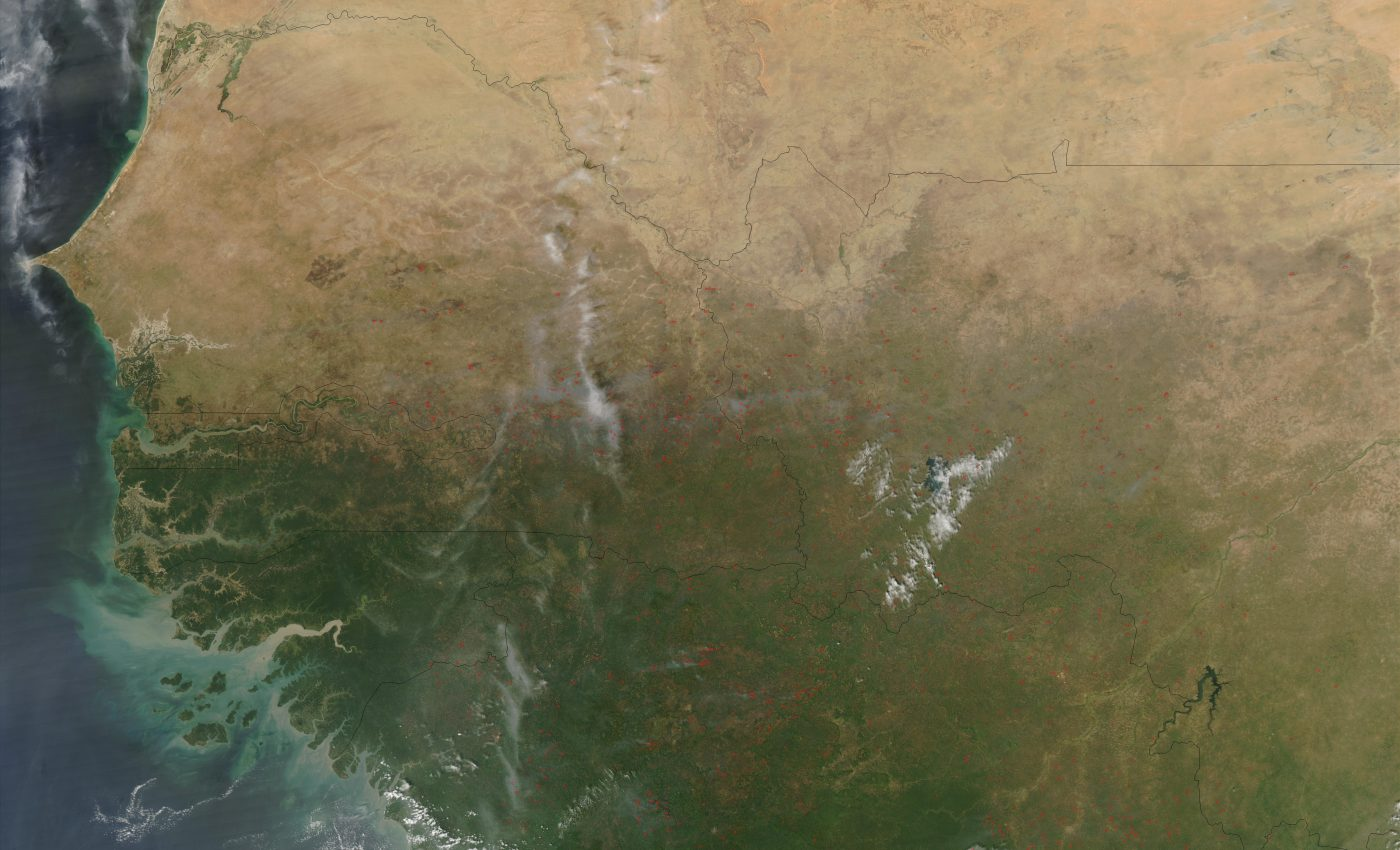 Fires in Western Africa (Afternoon Overpass)