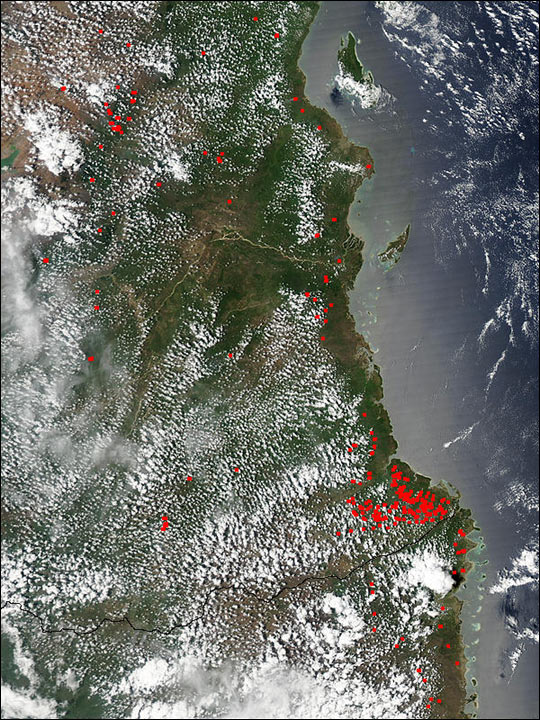 Numerous Fires in Southeast Tanzania