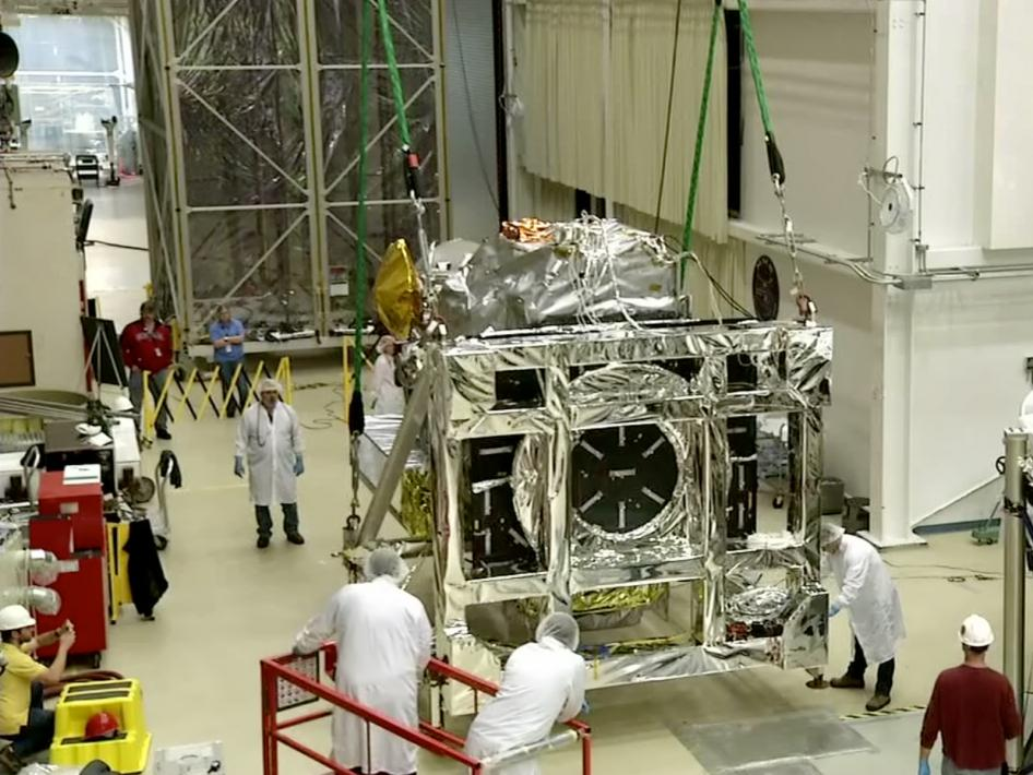 GPM Leaving the Thermal Vacuum Chamber