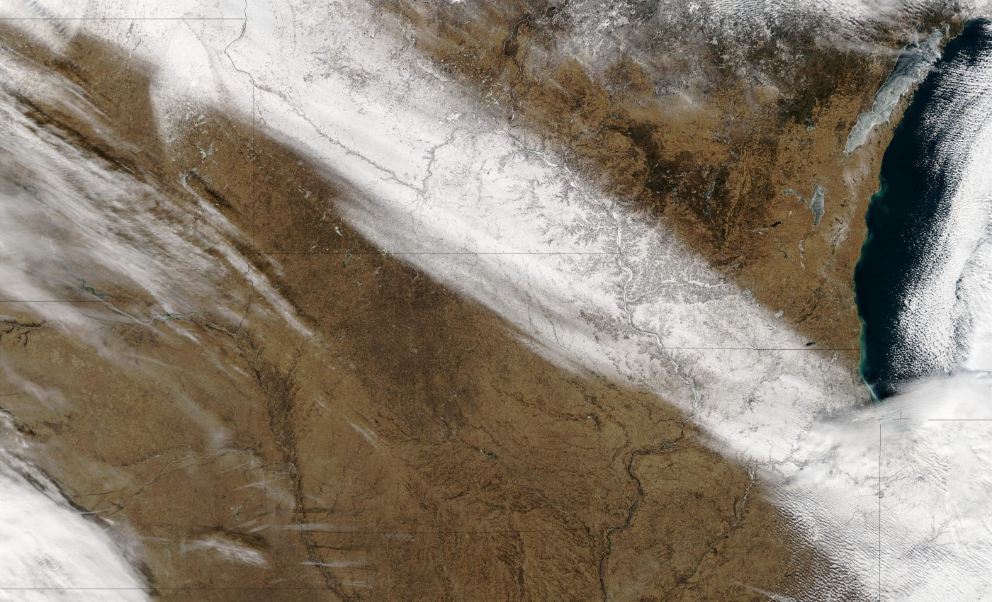 Snow Trail Across North Central United States