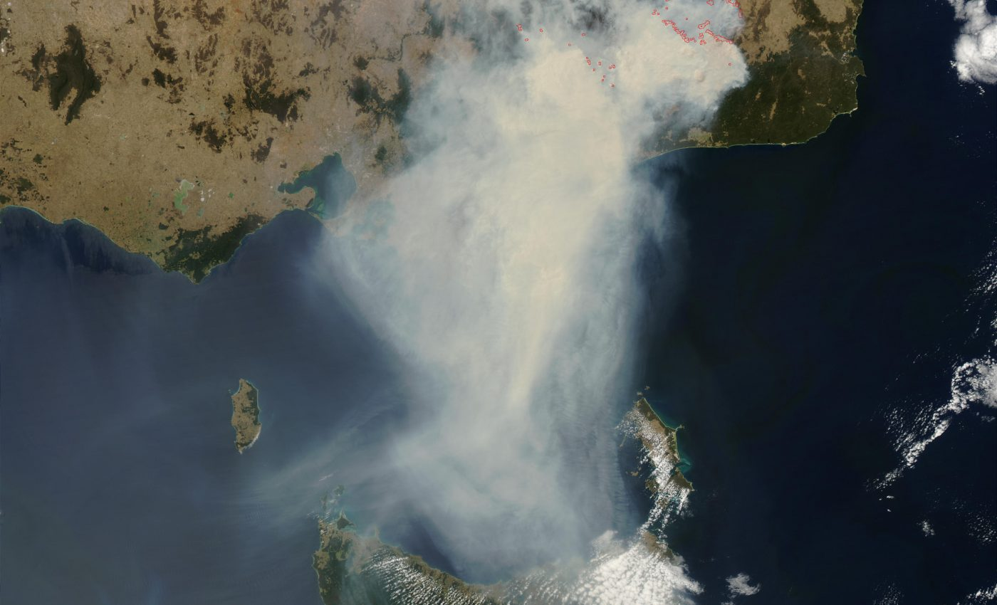 Fires and Smoke in Southeast Australia (Afternoon Overpass)