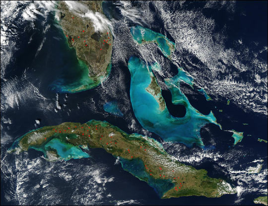 Fires in Florida and Cuba