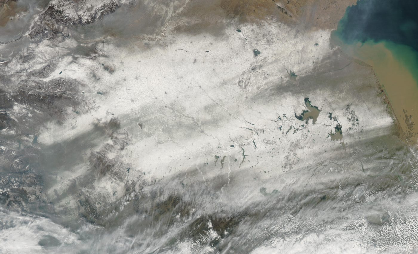 Snow Trails Across Eastern China
