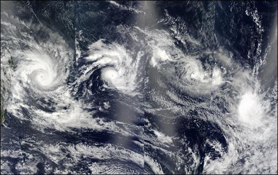 Multiple Cyclones in the Indian Ocean