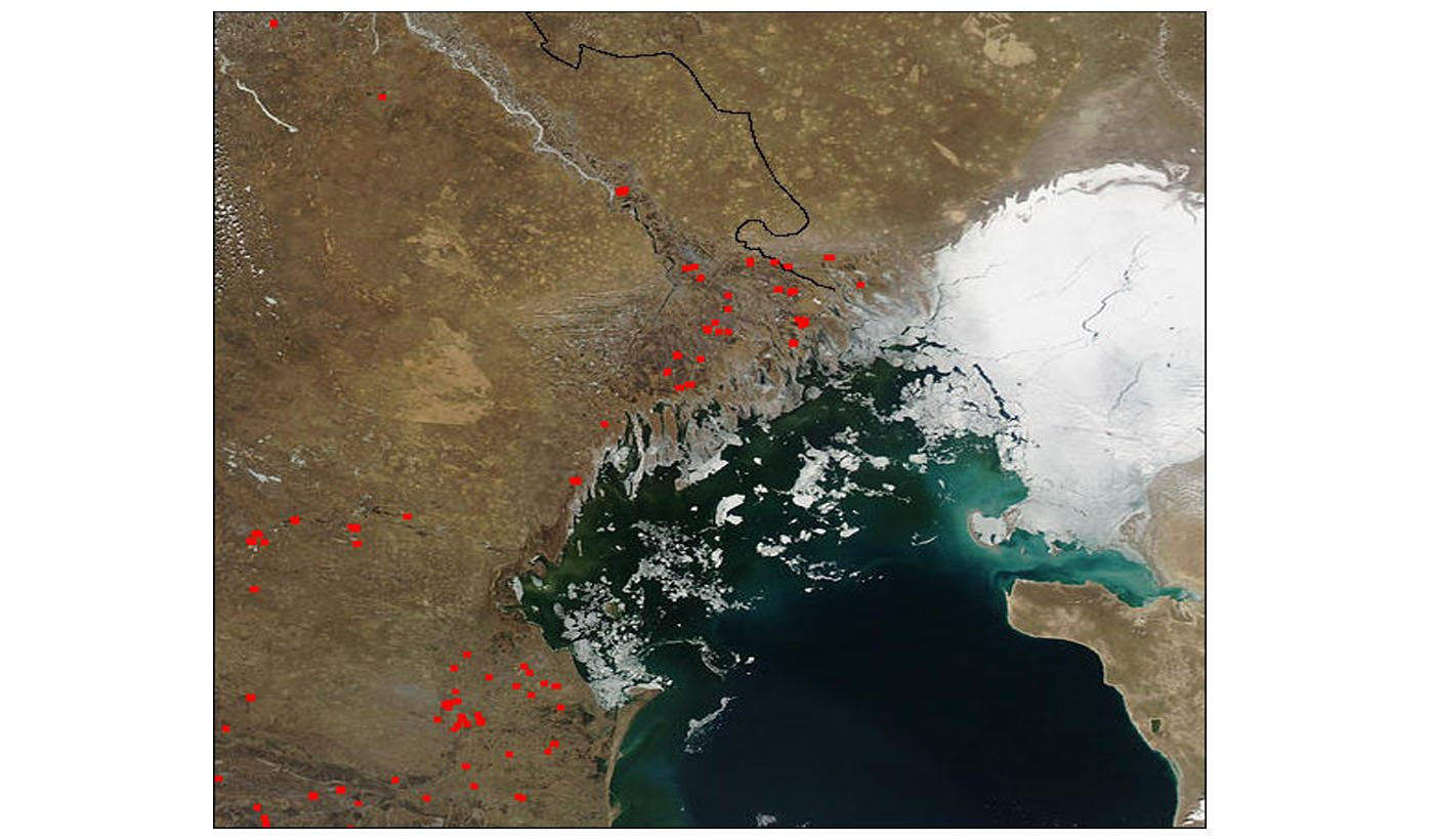 Fires in Volga River Delta and Southwest Russia