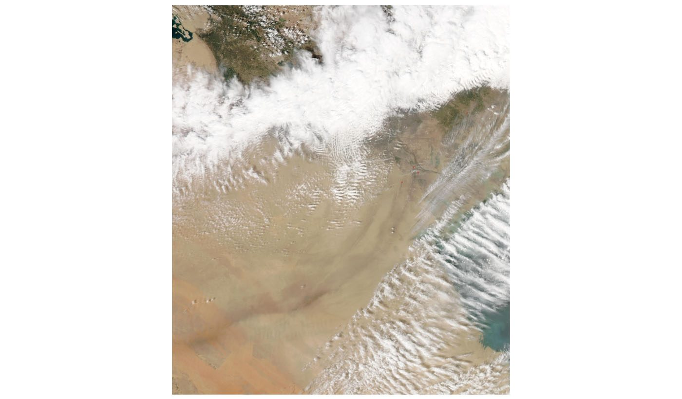 Smoke Plume from Burning Oil Wells in Southern Iraq