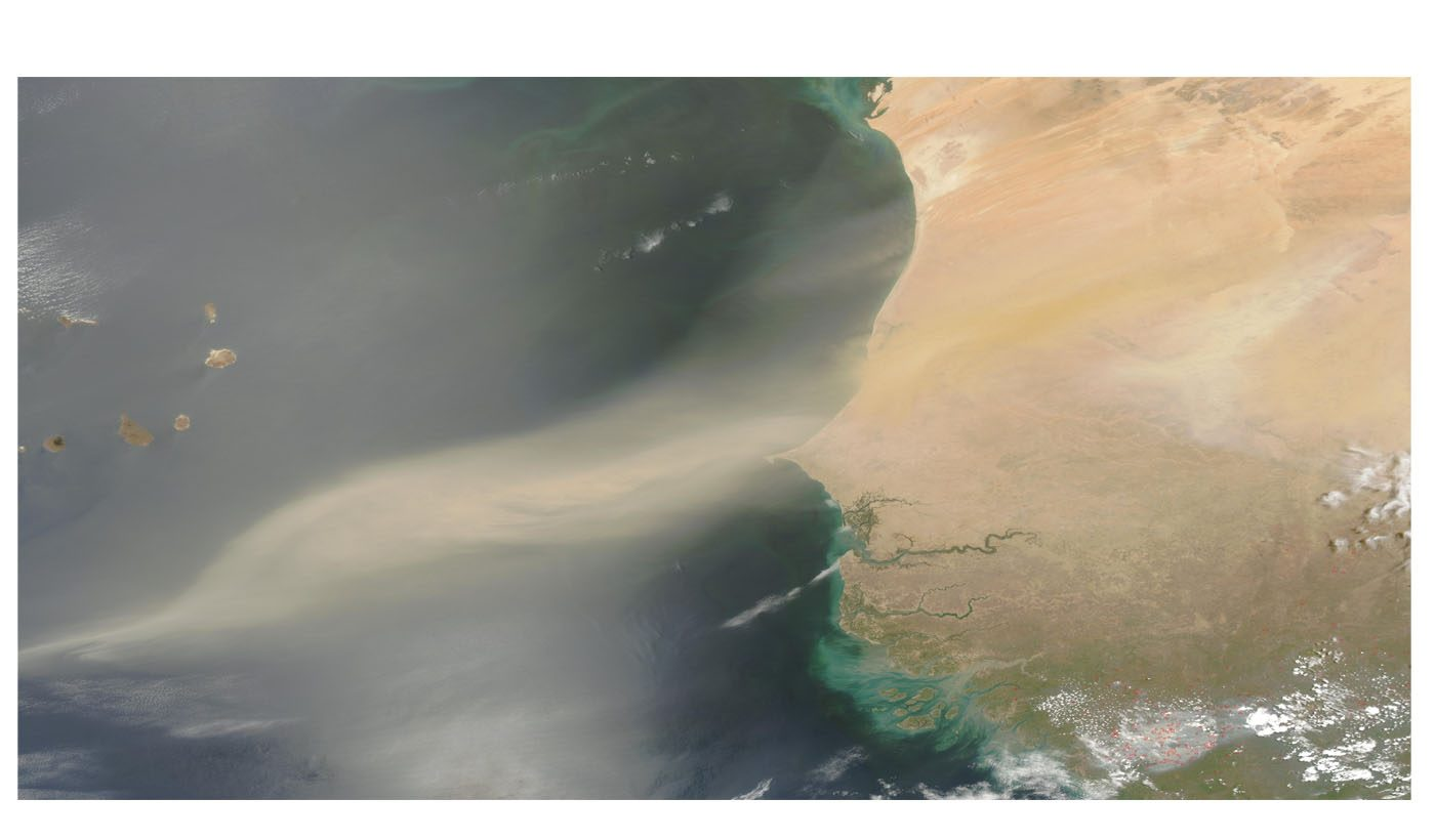 Saharan Dust off West Africa (Afternoon Overpass)