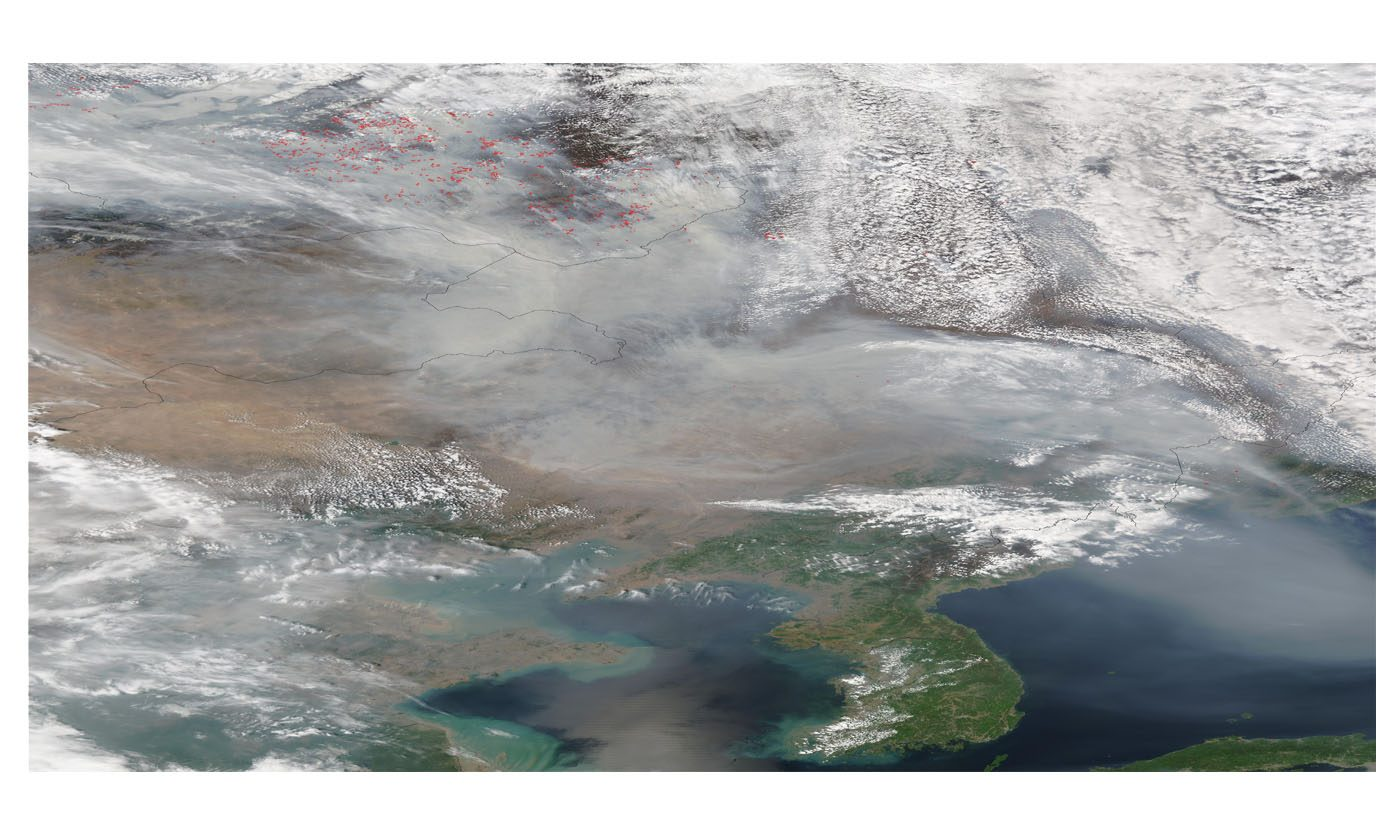 Smoke from Russian Fires Across Northeast China