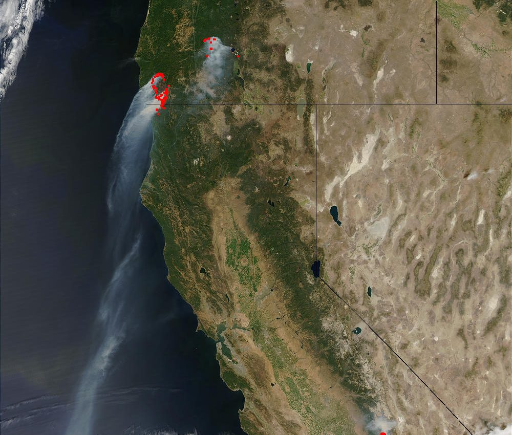 Fires in Oregon and California