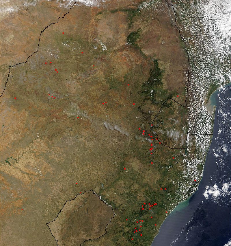 Fires in South Africa and Mozambique