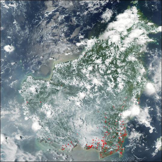 Wildfires and Haze over Borneo