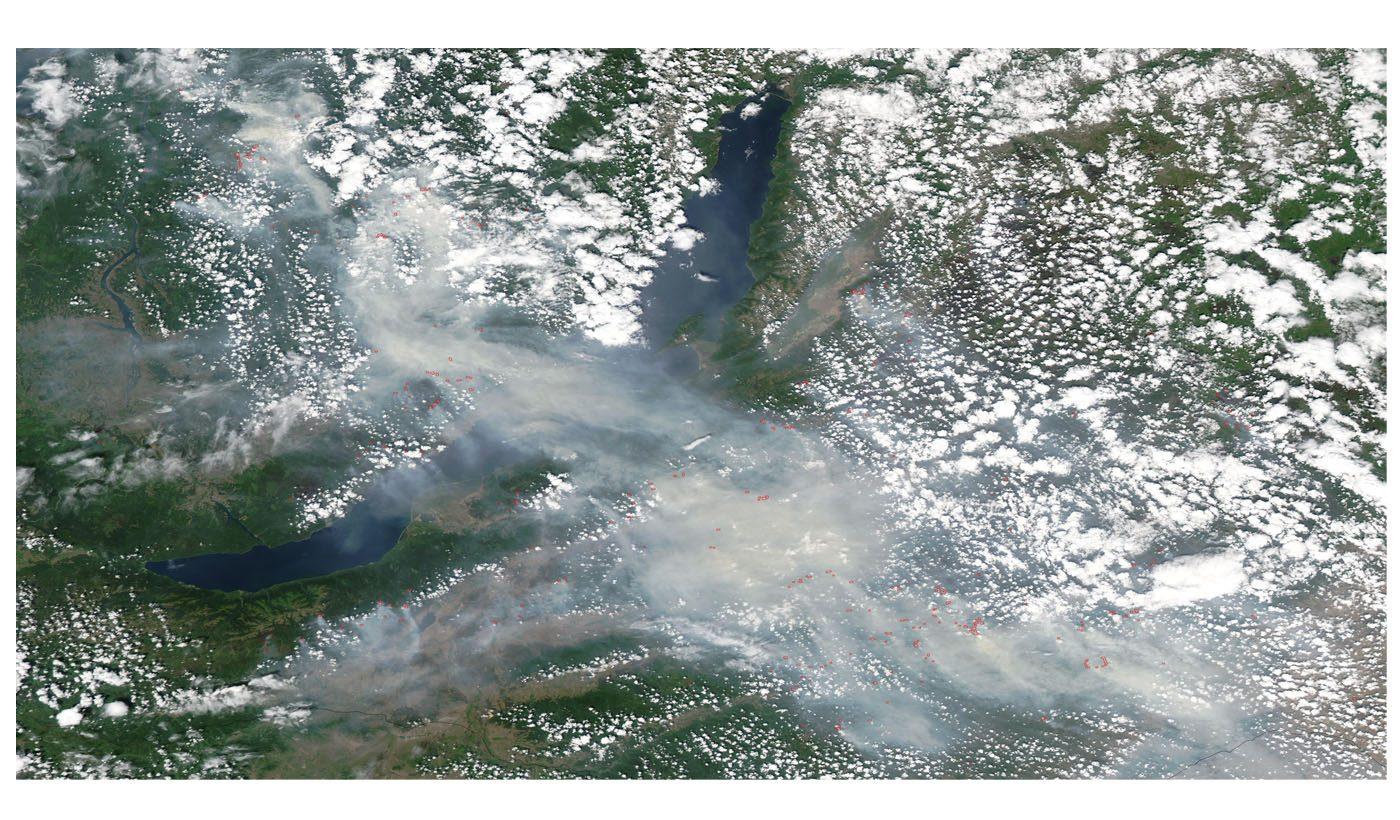 Fires and Smoke Around Lake Baikal, Russia
