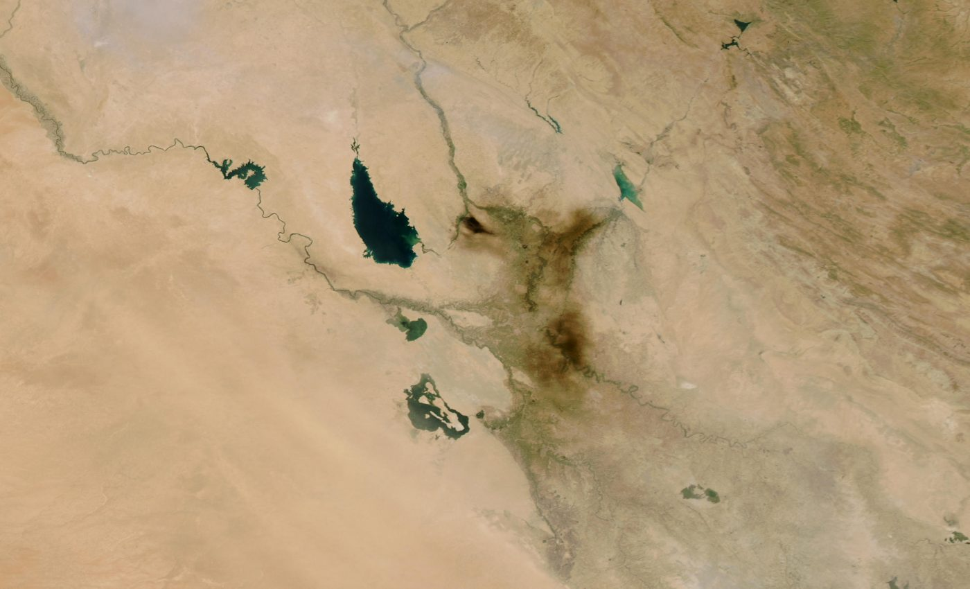 Smoke Plume from Oil in Baghdad, Iraq