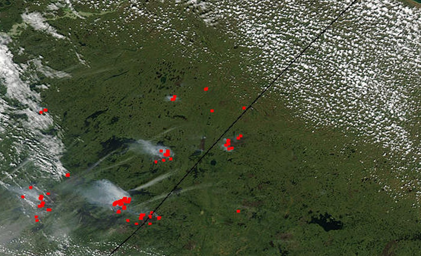 Fires in Manitoba and Ontario