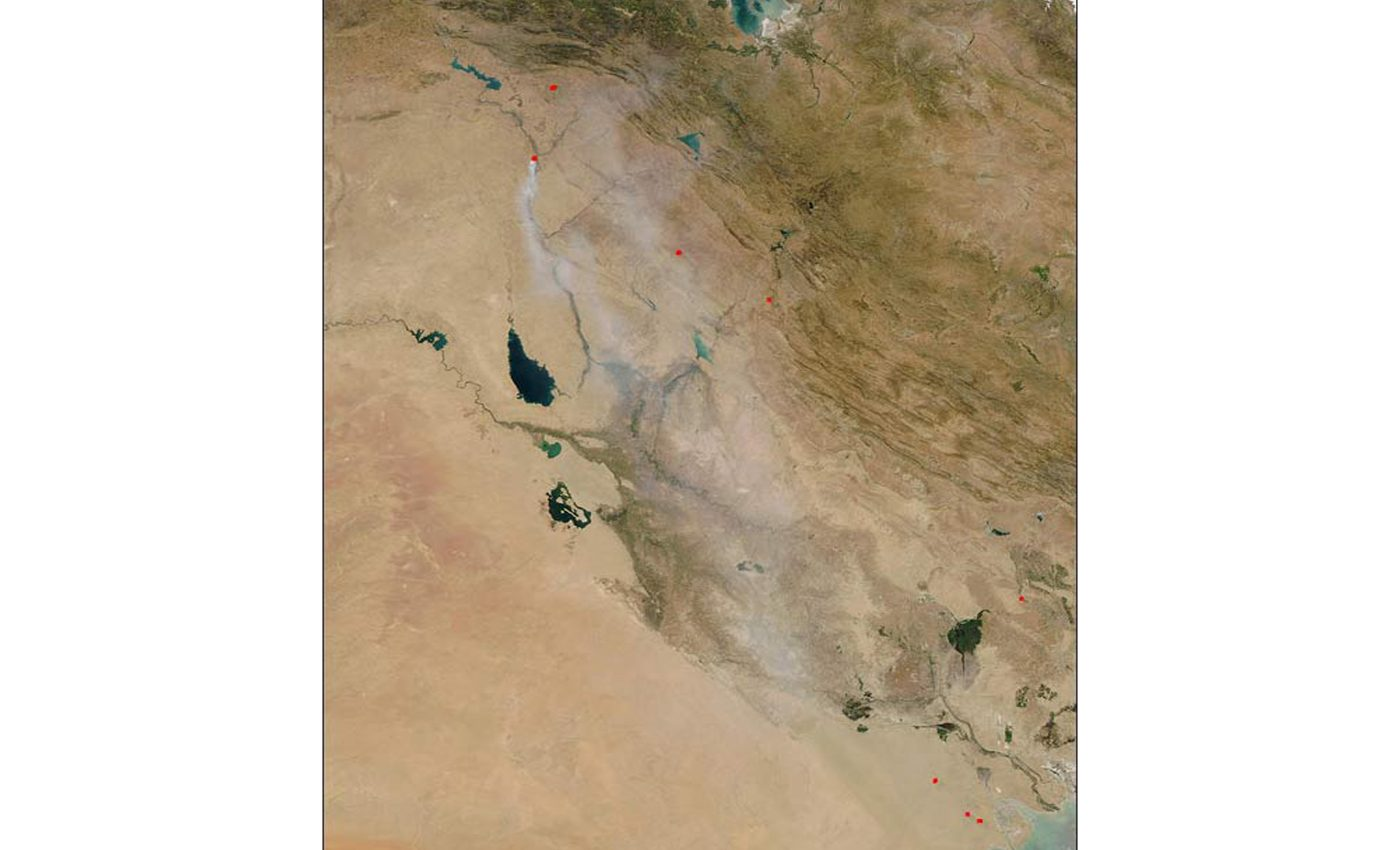 Oil and Sulfur Smoke in Iraq