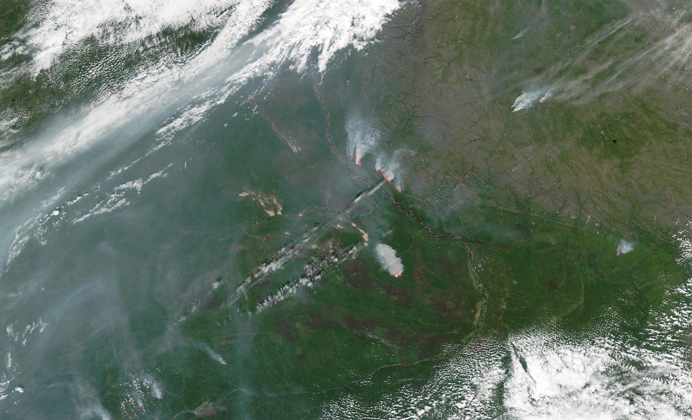 Fires and Smoke Near Yakutsk, Russia