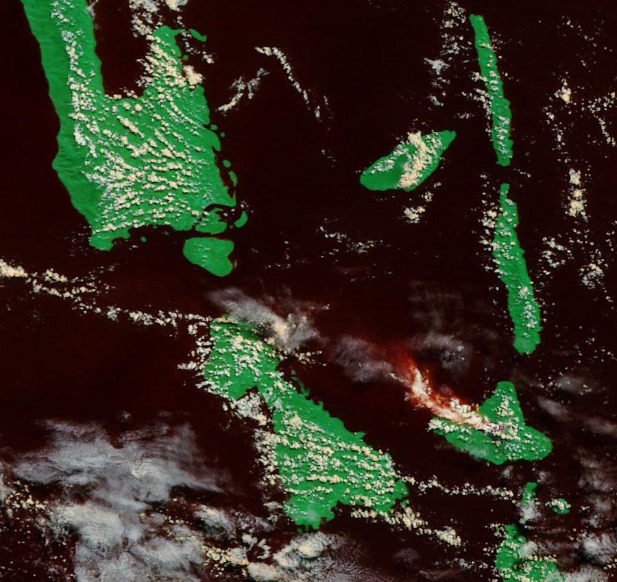 Ash Plume from Ambrym Volcano, Vanatu