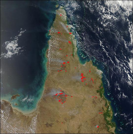 Fires on Cape York Peninsula Australia