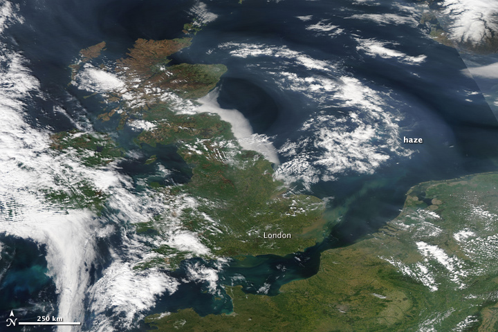 Haze over the United Kingdom