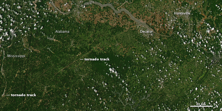 Tornado Tracks in Mississippi and Alabama
