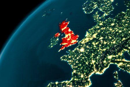 United Kingdom at night on Earth