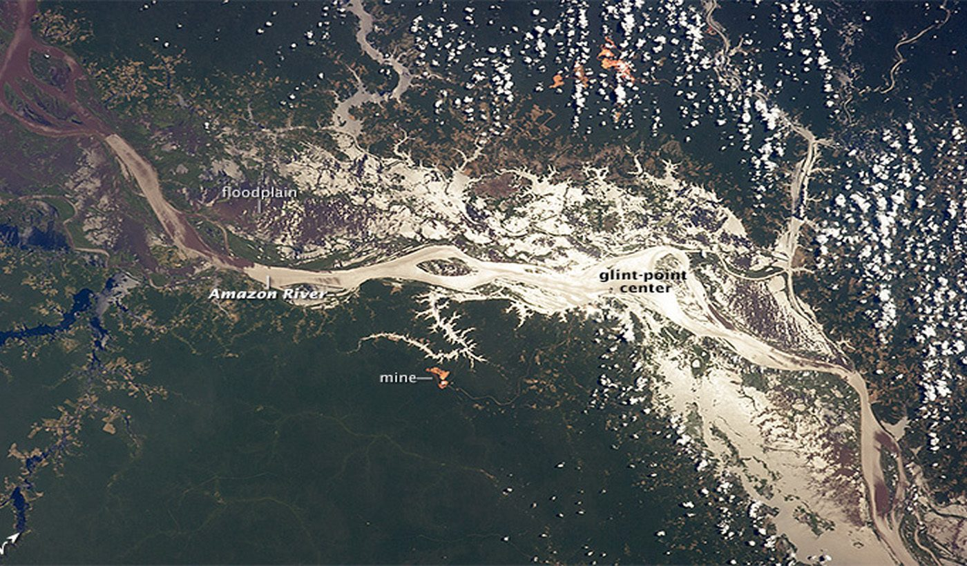 Amazon River In Sunglint
