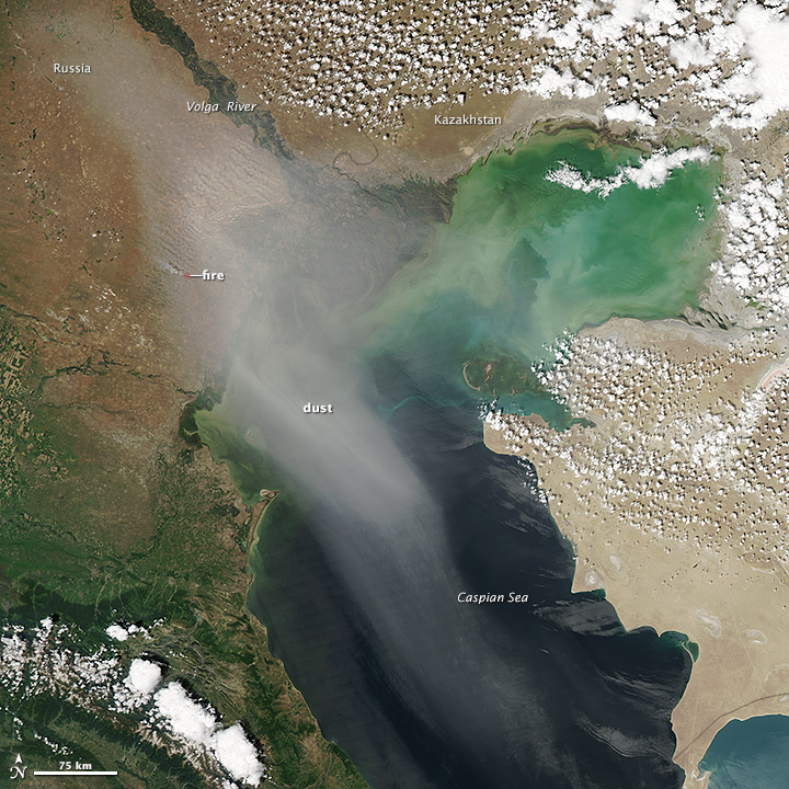 Dust Blowing Over the Caspian Sea