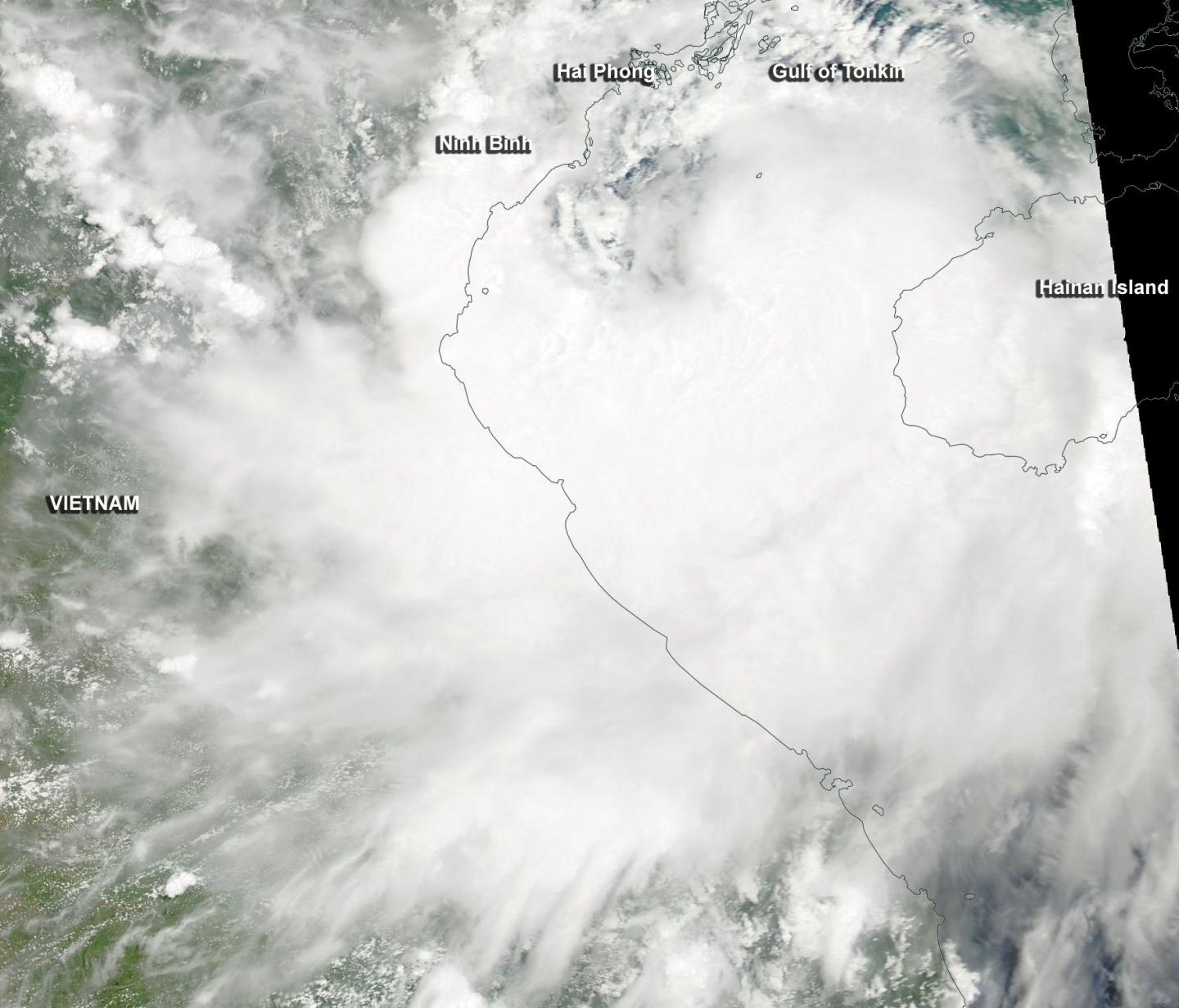 Tropical Storm Mirinae was moving through the Gulf of Tonkin early on July 27 when NASA's Aqua satellite passed overhead.