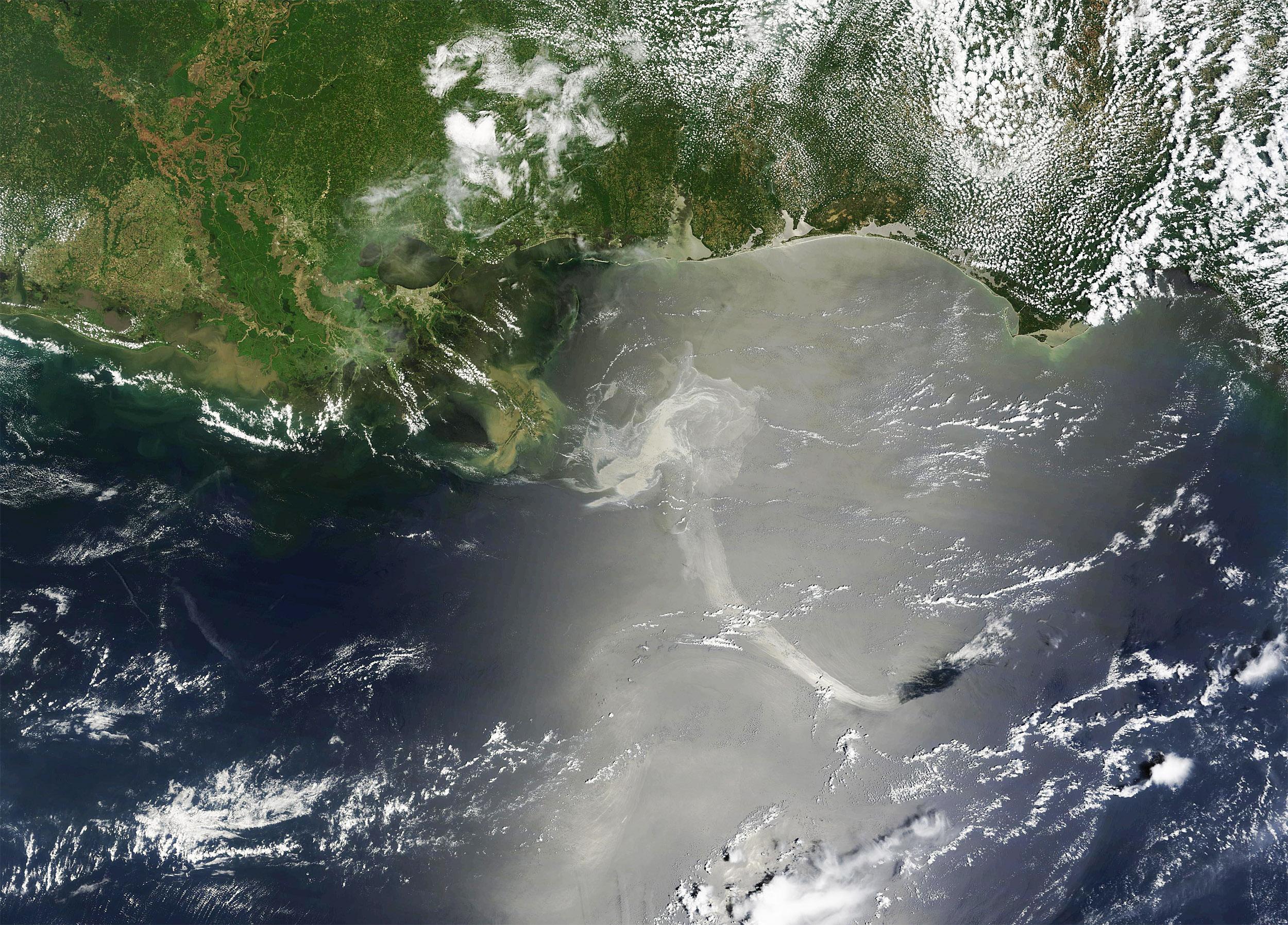 Deepwater Horizon oil spill seen from space