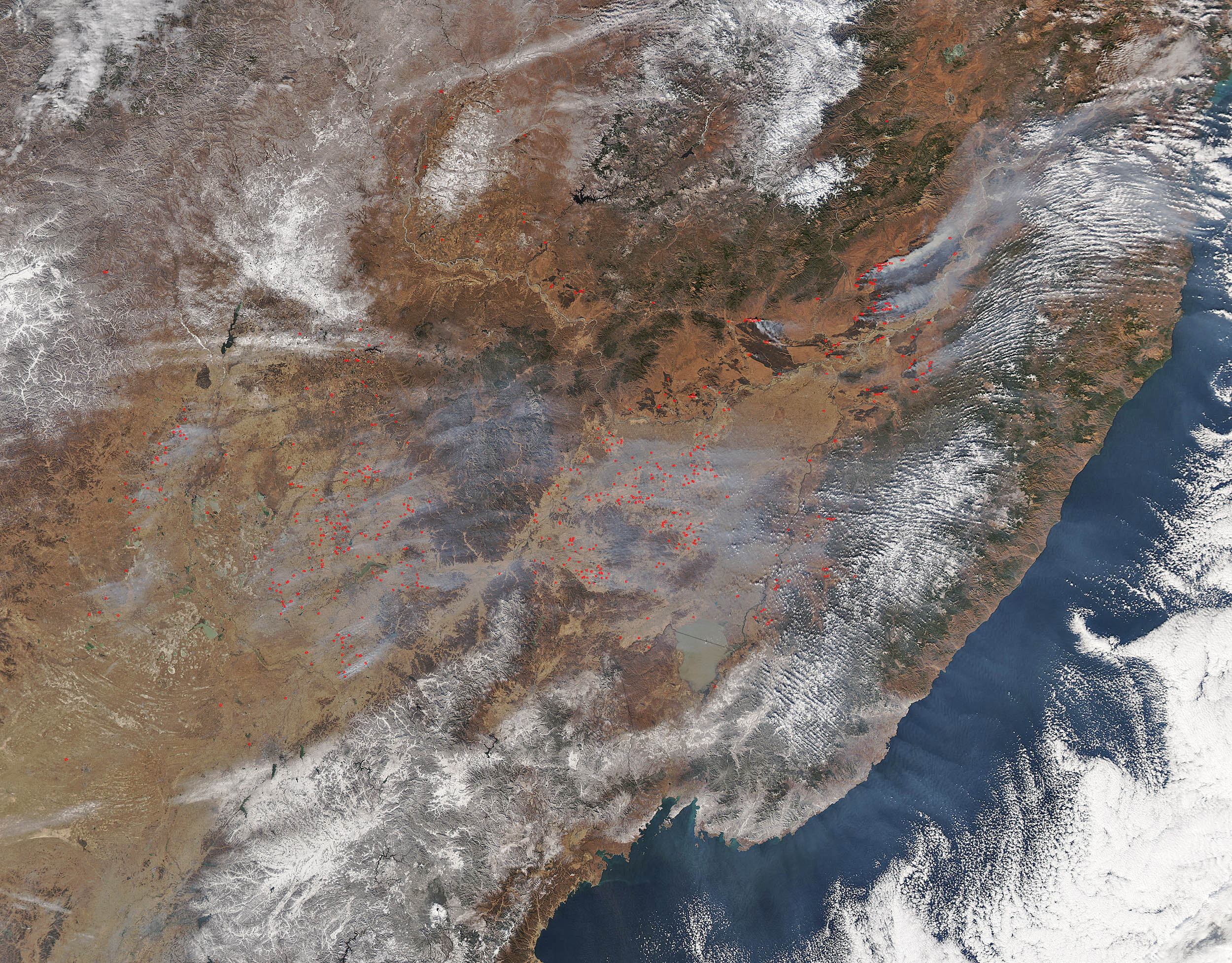 Wildfires in eastern China and Russia