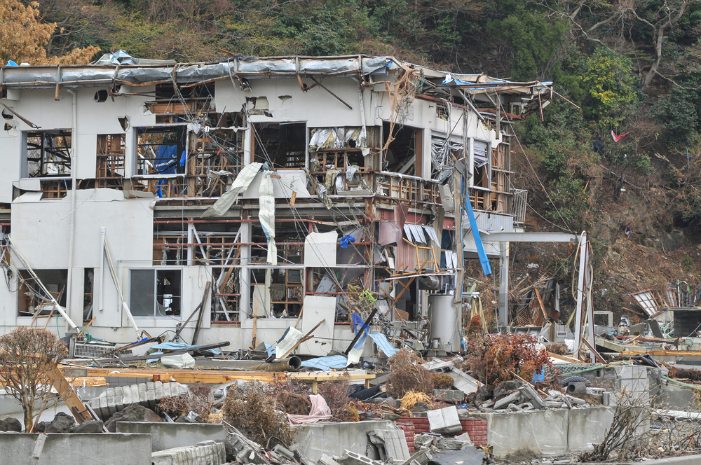 Buildings in Japan show major damage after the 9.0-magnitude Tohoku earthquake and tsunami in March 2011. Nearly 16,000 people were killed.