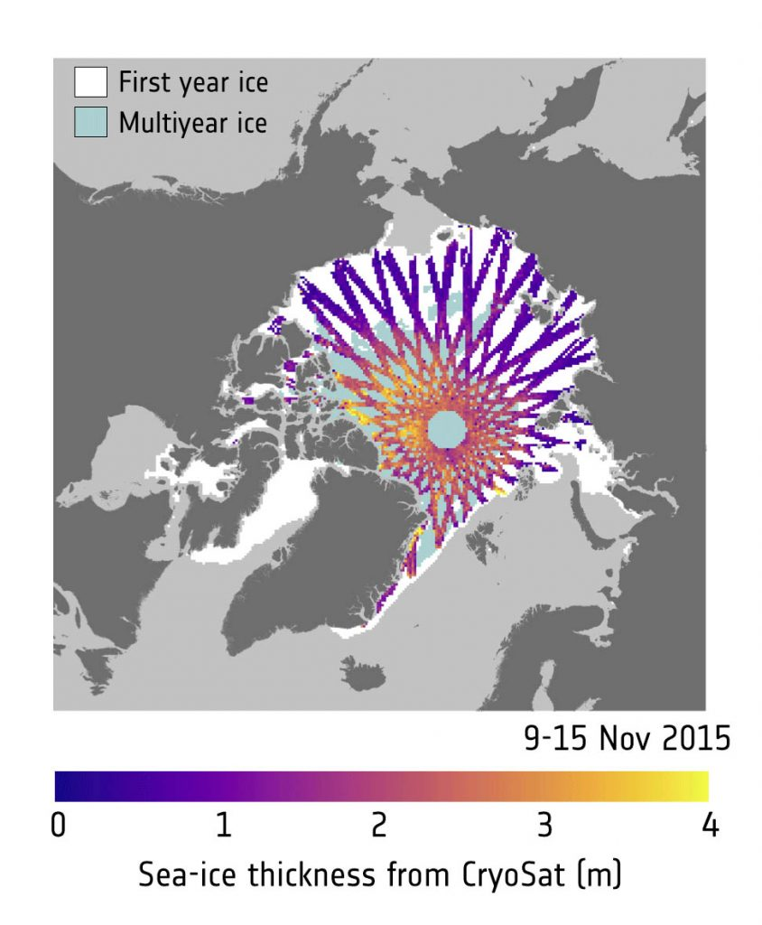 Ice thickness from CryoSat and SMOS