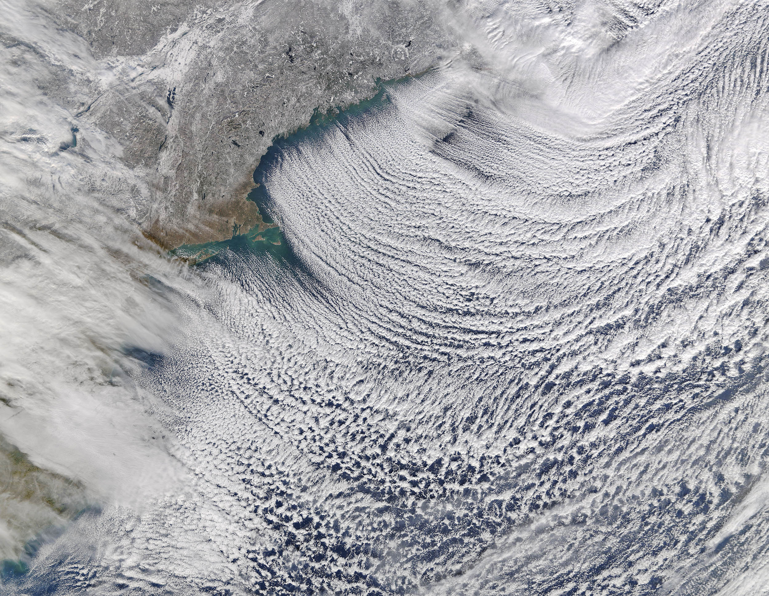 Cloud streets flowing off the northeastern US coast