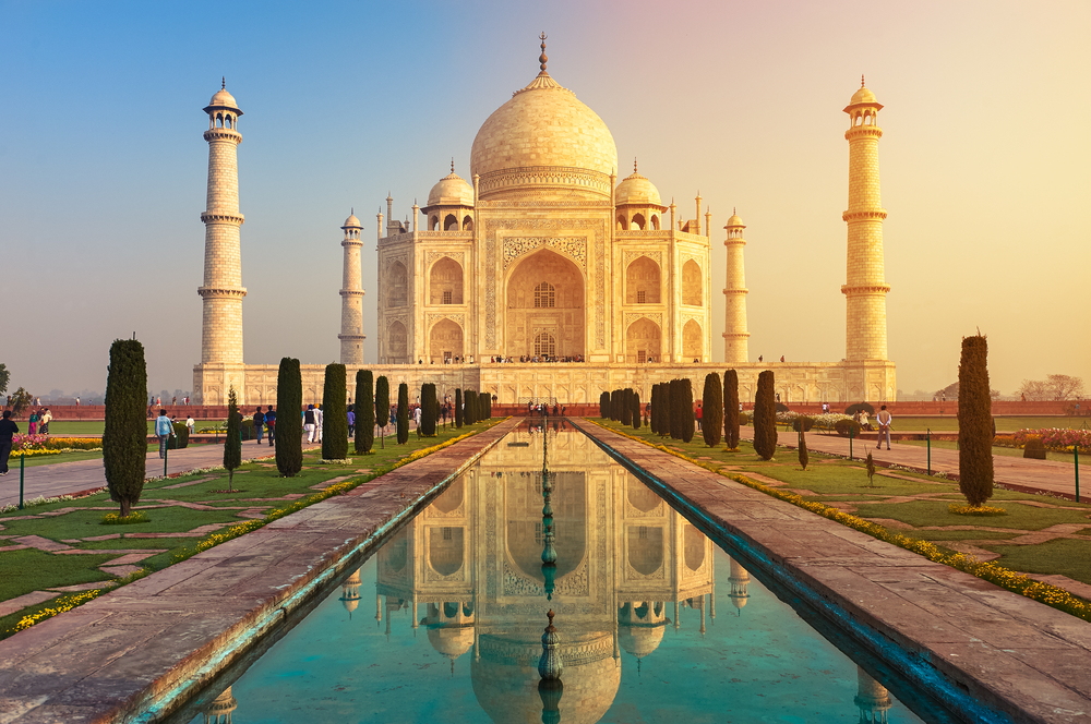 Perhaps one of the most famous buildings in the world, the Taj Mahal sits majestically on the south bank of the Yamuna river in the city of Agra, India.
