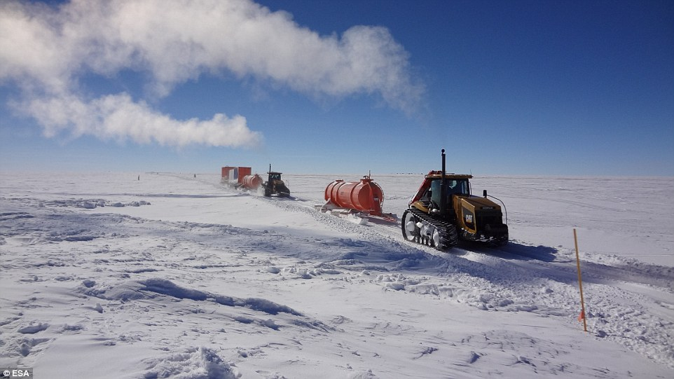 It's an incredible Antarctic journey. A collection of 24-ton tractors, each carrying and towing still more tons of food, fuel, equipment, and more, sets out from the edge of Antarctica.