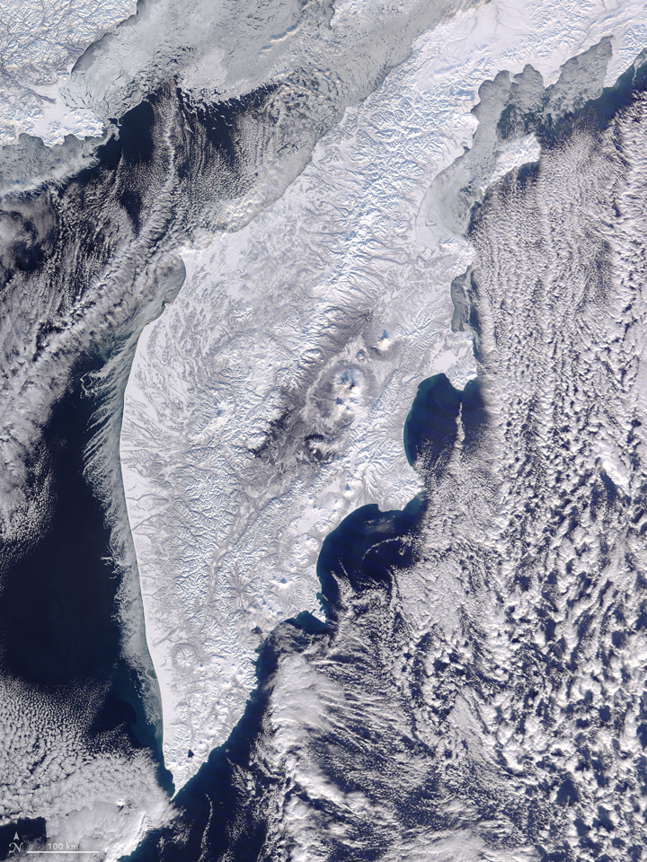 Today's Image of the Day comes courtesy of the NASA Earth Observatory and features the beautifully snow-covered Kamchatka Peninsula.