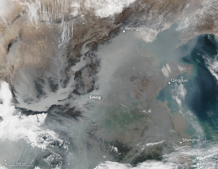 Today's Image of the Day shows a thick smog lingering in the air over China, thought to be caused in part by winter temperature inversions.