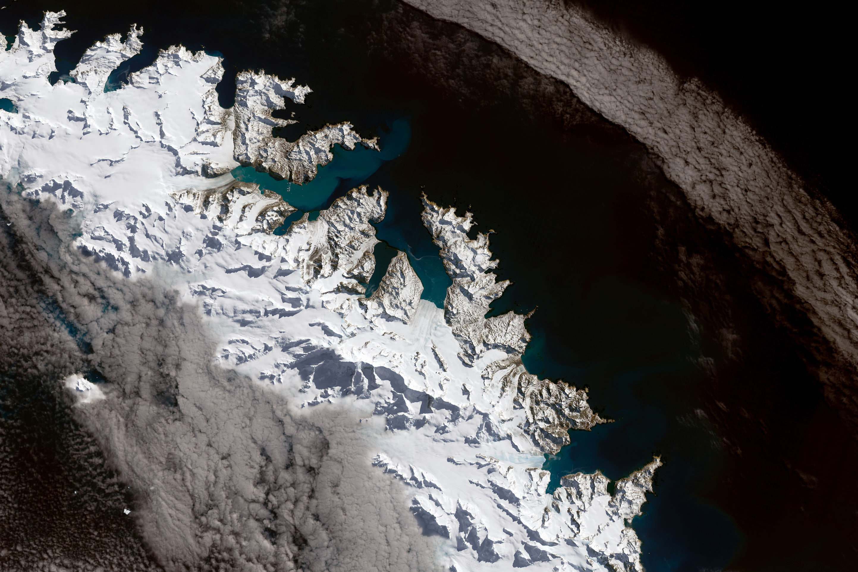 Today's Image of the Day comes from the southern Atlantic Ocean and features a breathtaking overhead view of South Georgia Island.