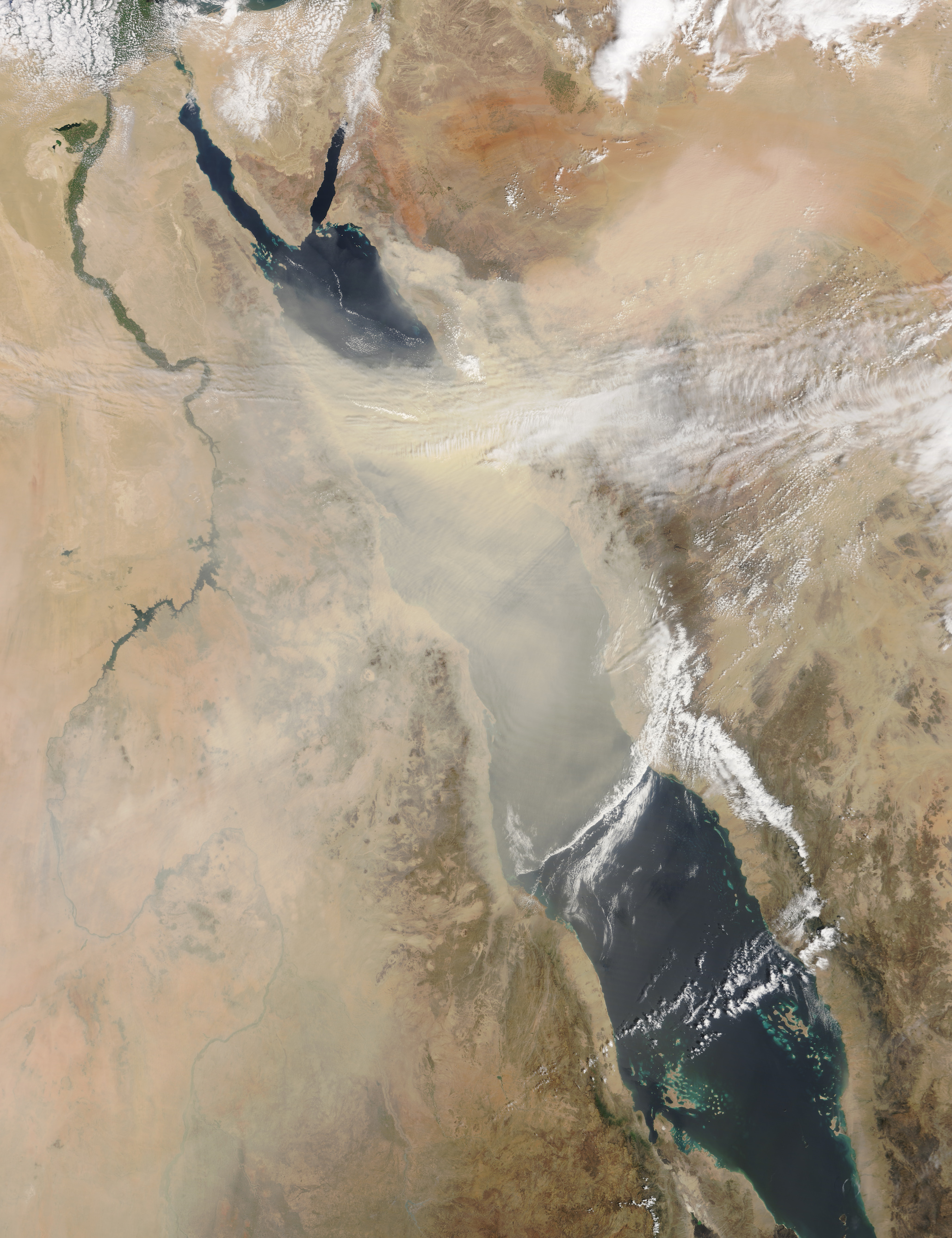 Today's Image of the Day comes thanks to the NASA Earth Observatory and features a look at a thick plume of dust floating in the air over the Red Sea.