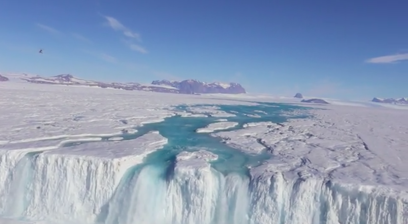 Water from melting ice is flowing extensively over Antarctica in the summers, which could raise sea levels if temperatures continue to rise.