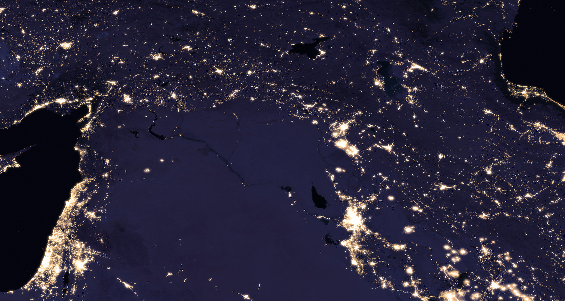 Today's Image of the Day comes thanks to the NASA Earth Observatory and features a look at night lights in the Middle East.