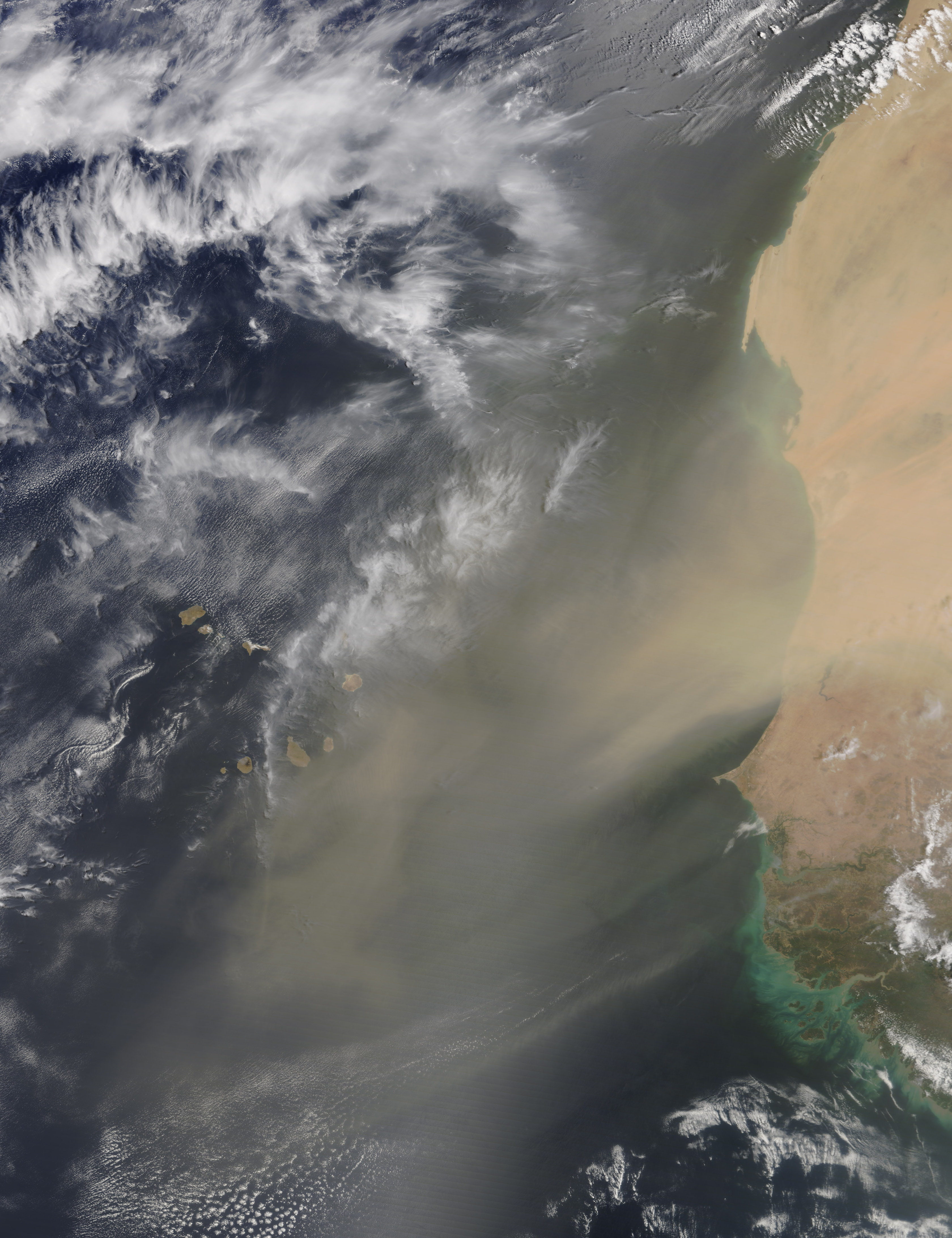Today's Image of the Day comes thanks to the NASA Earth Observatory and features a look at dusty winds over the coast of western Africa.