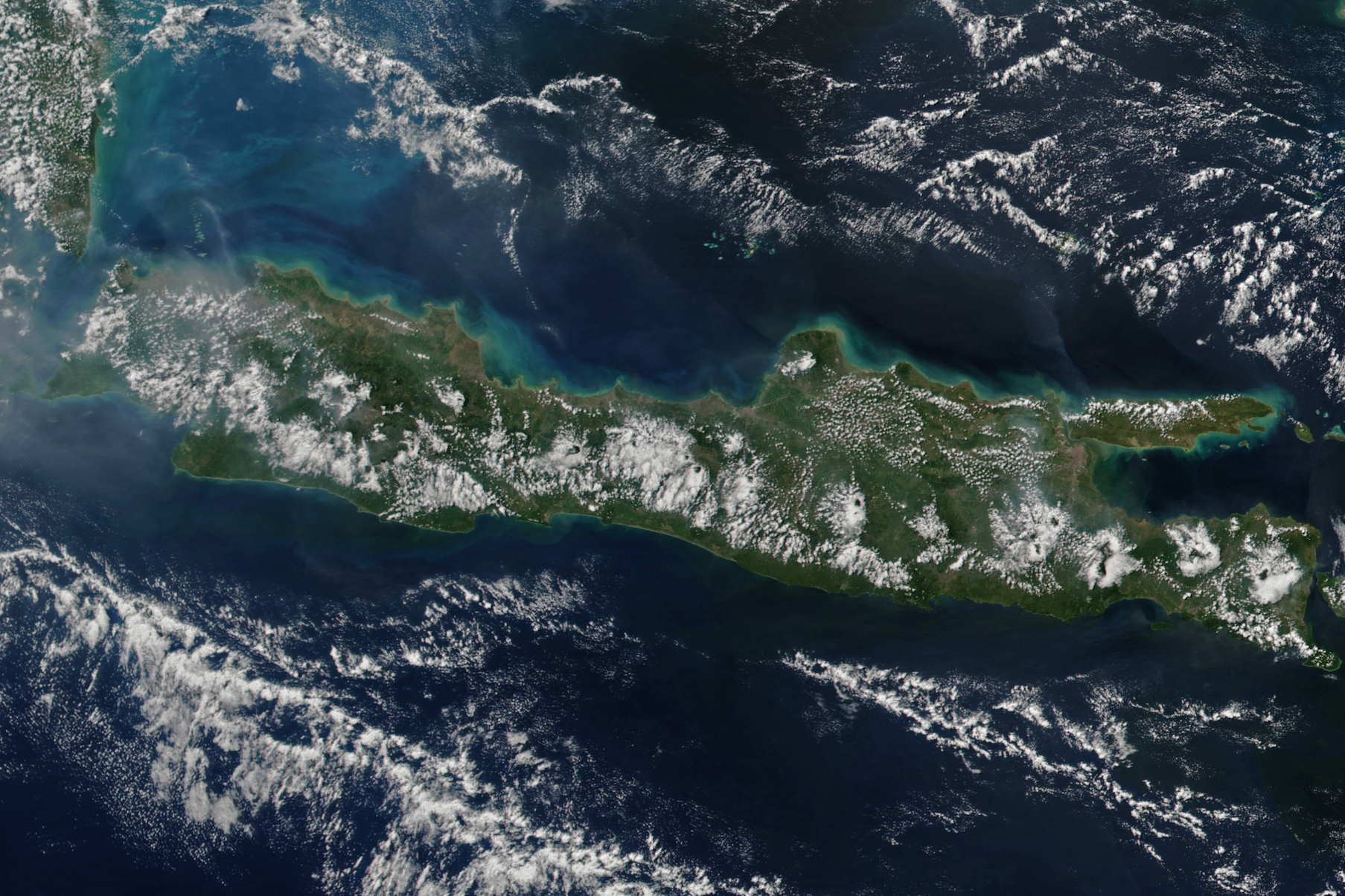 Today's Image of the Day comes thanks to the NASA Earth Observatory and features an overhead look at the Indonesian island of Java.