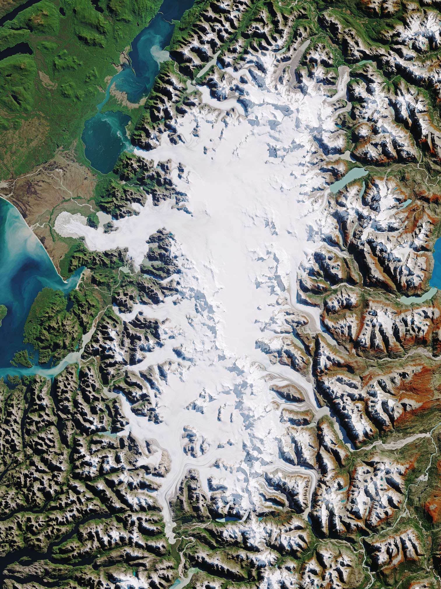 Today's Image of the Day comes thanks to the NASA Earth Observatory and features a look at ice fields in northern Patagonia, South America.